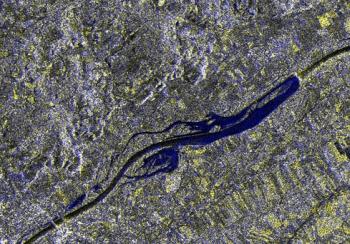 El río Inn desbordandose. Imagen satélite ERS